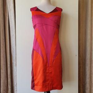 Karen Millen Orange/Pink Sleeveless Dress Size 12